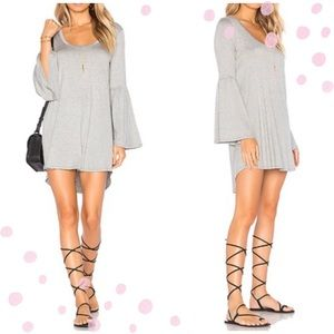 NWT Chaser Brand Gray Hi Low Flare Sleeve dress M